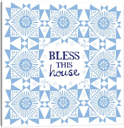 Bless This House (Blue) Canvas Art Print