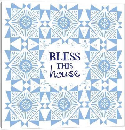 Bless This House (Blue) Canvas Art Print
