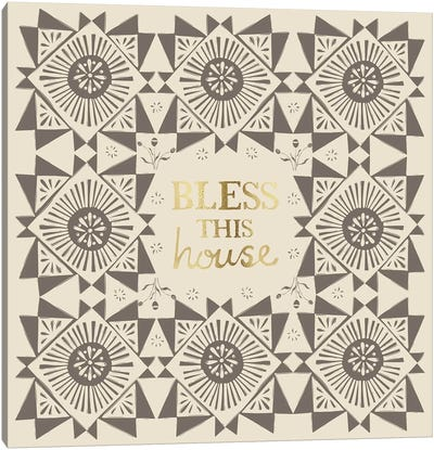 Bless This House (Grey) Canvas Art Print