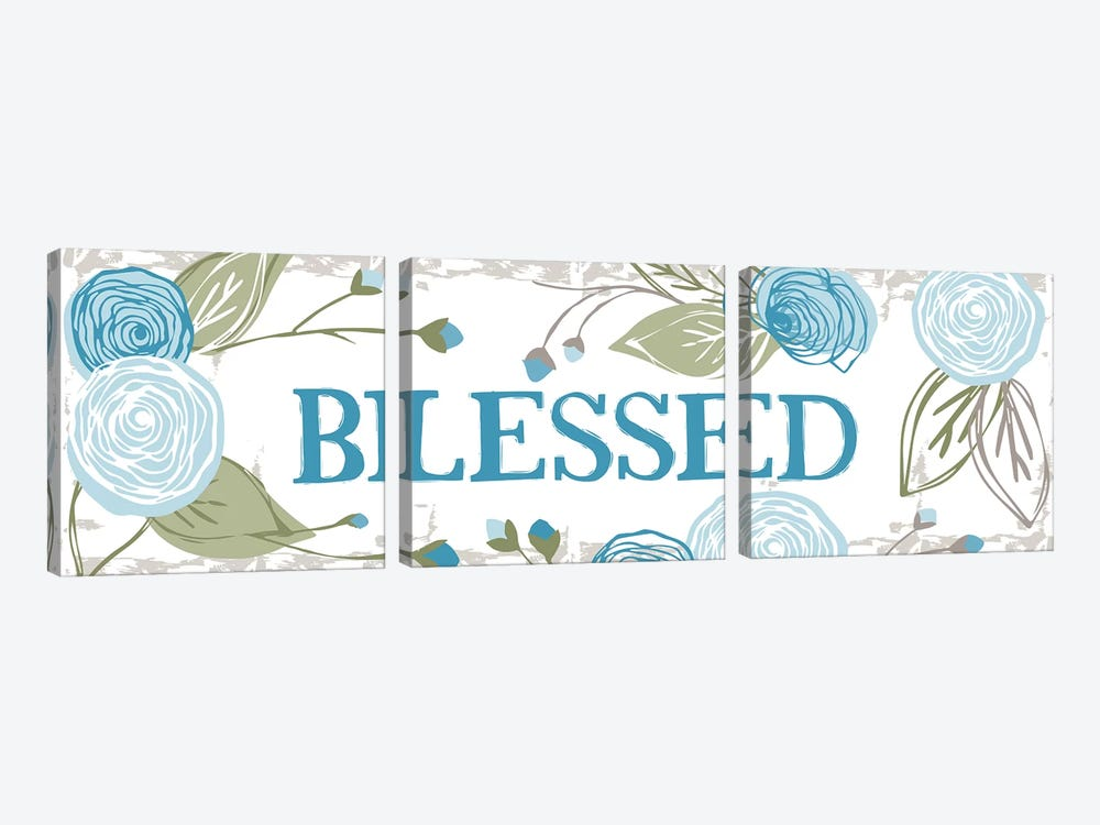 Blessed (Roses) by Vicky Yorke 3-piece Canvas Artwork