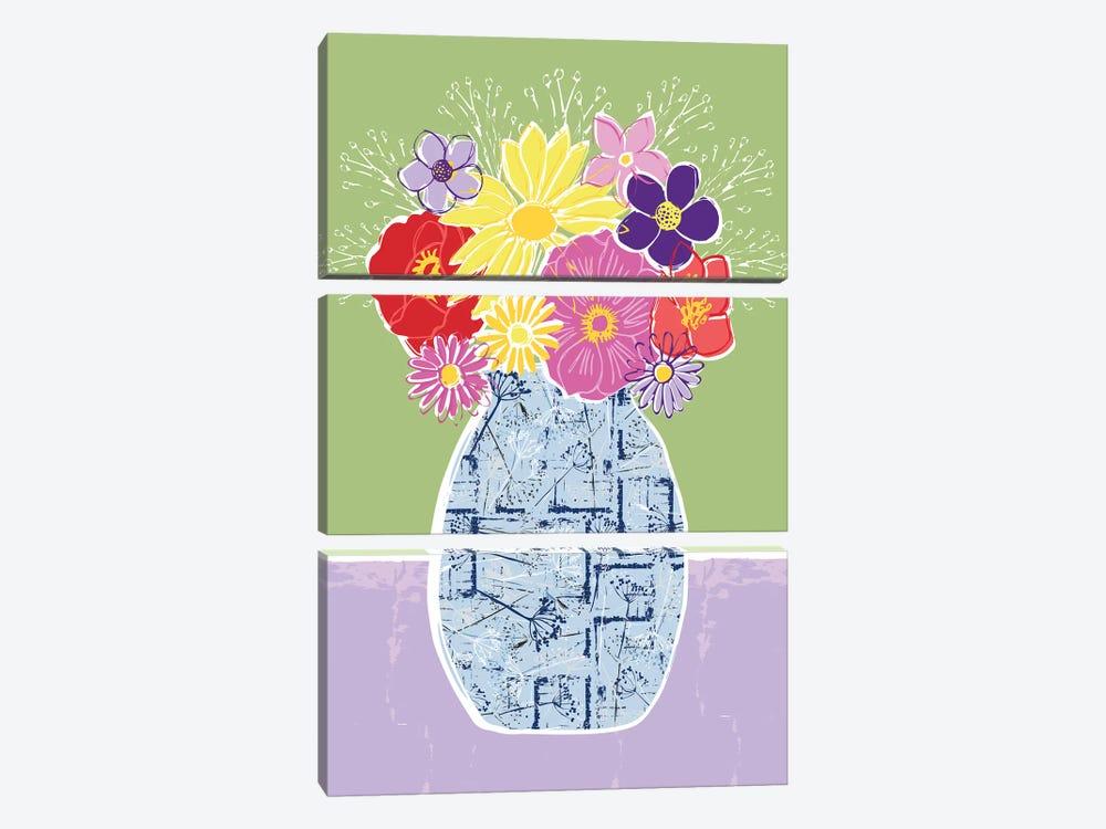 Full Bluem Still Life VI by Vicky Yorke 3-piece Canvas Wall Art