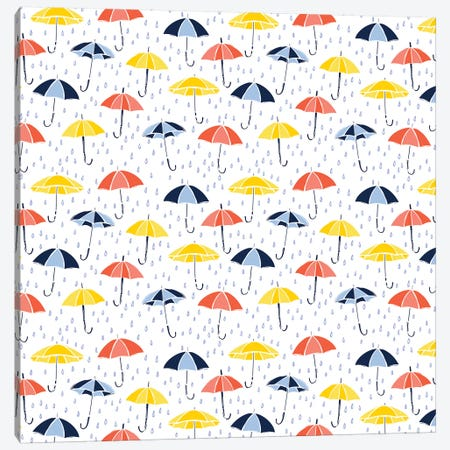 Grab Your Umbrella Canvas Print #VYO29} by Vicky Yorke Art Print