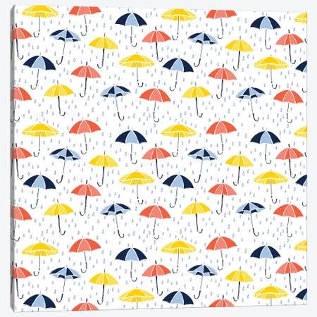 Grab Your Umbrella Canvas Print #VYO29} by Vicky Yorke Art Print