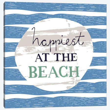 Happiest At The Beach Canvas Print #VYO30} by Vicky Yorke Canvas Art