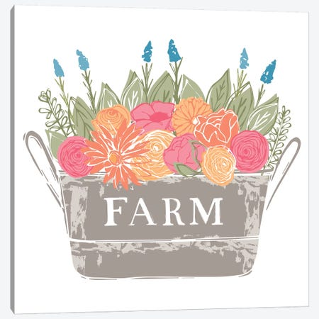 Home Farm - Flowers Canvas Print #VYO37} by Vicky Yorke Art Print