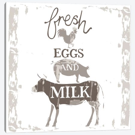 Home Farm - Fresh Eggs And Milk Canvas Print #VYO39} by Vicky Yorke Canvas Artwork