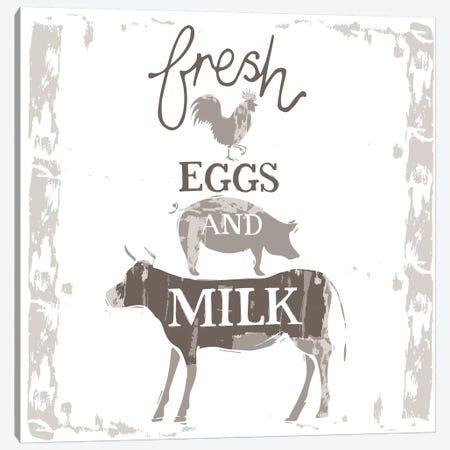 Home Farm - Fresh Eggs And Milk Canvas Print #VYO39} by Vicky Yorke Canvas Artwork