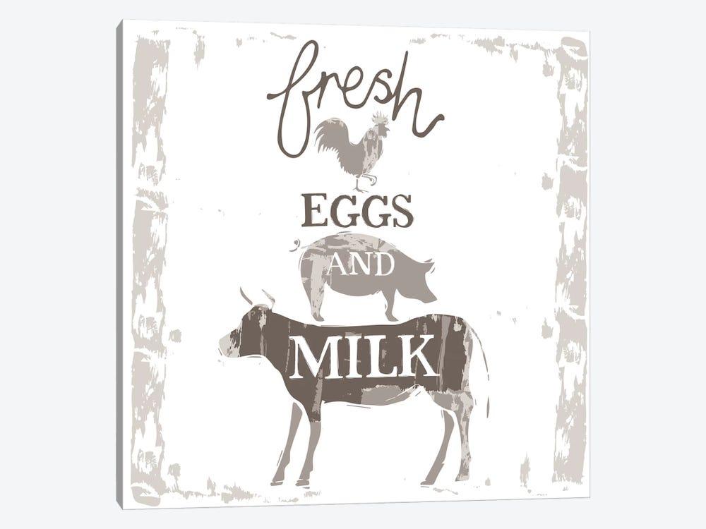 Home Farm - Fresh Eggs And Milk by Vicky Yorke 1-piece Canvas Artwork