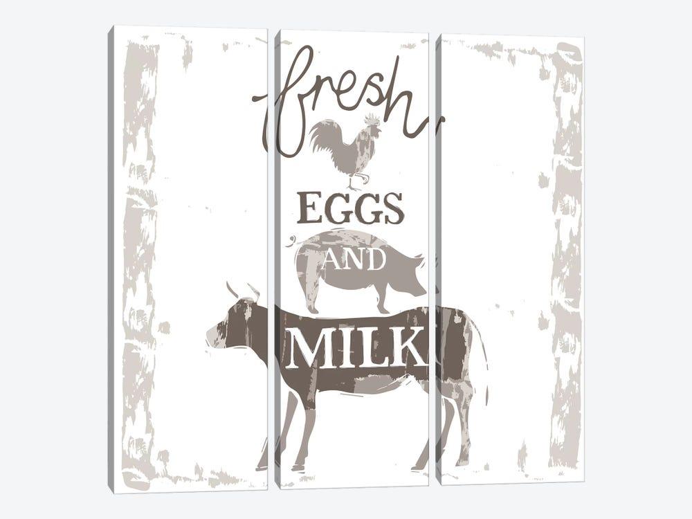 Home Farm - Fresh Eggs And Milk by Vicky Yorke 3-piece Canvas Art
