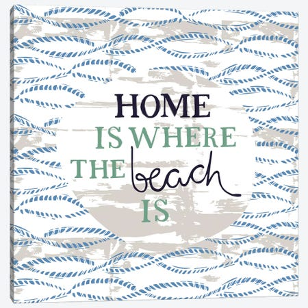 Home Is Where The Beach Is Canvas Print #VYO46} by Vicky Yorke Canvas Artwork