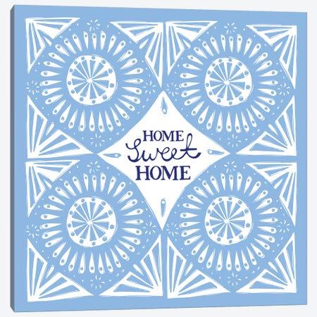 Home Sweet Home (Blue) Canvas Print #VYO49} by Vicky Yorke Art Print