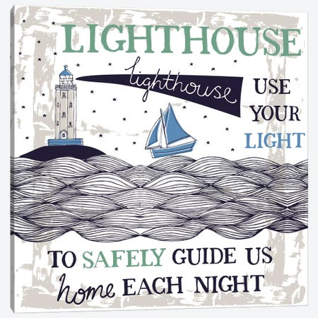 Lighthouse Guide Us Canvas Print #VYO53} by Vicky Yorke Canvas Artwork