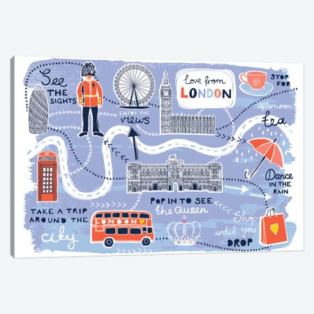 London Map Canvas Print #VYO55} by Vicky Yorke Canvas Art Print