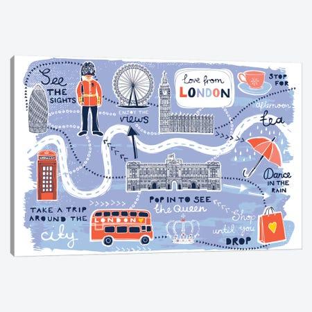 London Map Canvas Print #VYO55} by Vicky Yorke Canvas Art Print