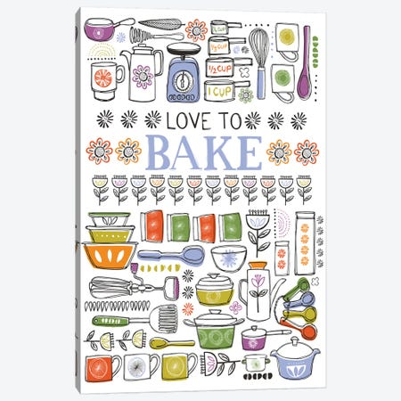 Love To Bake 3-Piece Canvas #VYO56} by Vicky Yorke Canvas Art Print