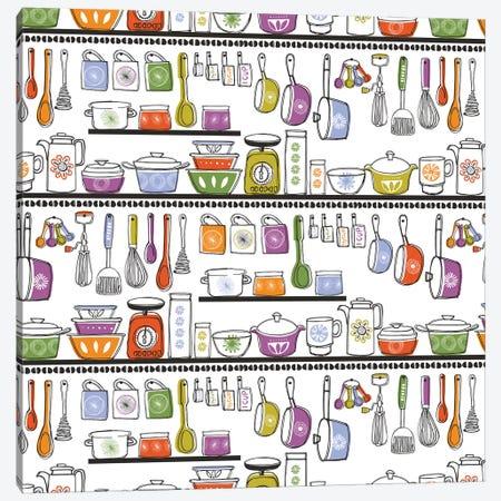 Midcentury Kitchen Canvas Print #VYO59} by Vicky Yorke Canvas Artwork