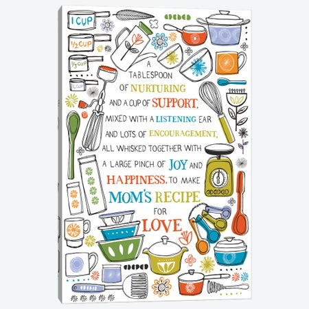 Mom's Recipe For Love Canvas Print #VYO60} by Vicky Yorke Art Print