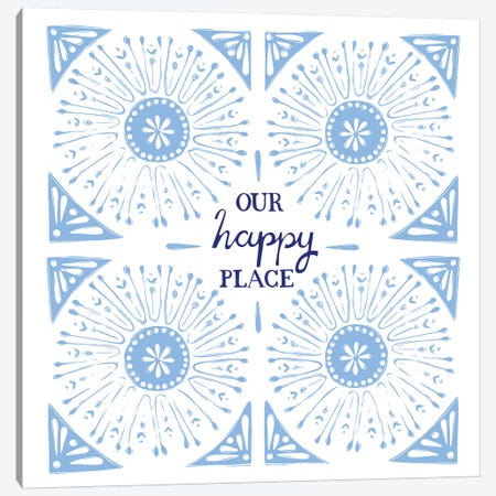 Our Happy Place (Blue) Canvas Print #VYO64} by Vicky Yorke Canvas Art