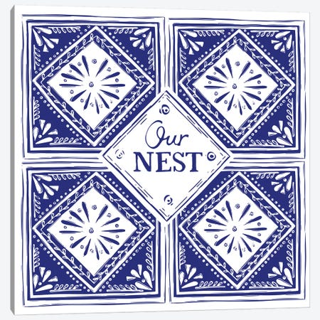 Our Nest (Blue) Canvas Print #VYO66} by Vicky Yorke Canvas Art