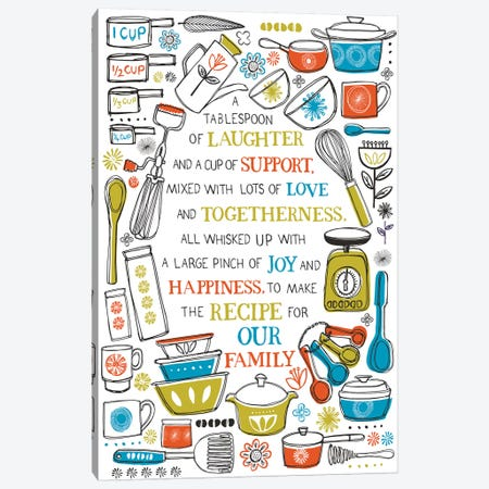 The Recipe For Our Family Canvas Print #VYO76} by Vicky Yorke Art Print