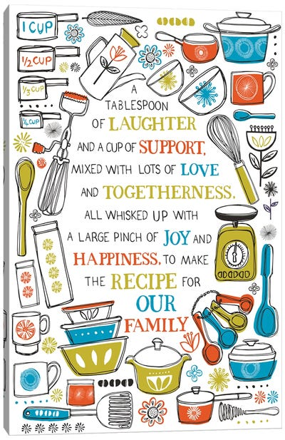 The Recipe For Our Family Canvas Art Print