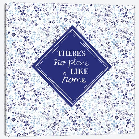 There's No Place Like Home (Blue) Canvas Print #VYO78} by Vicky Yorke Canvas Wall Art