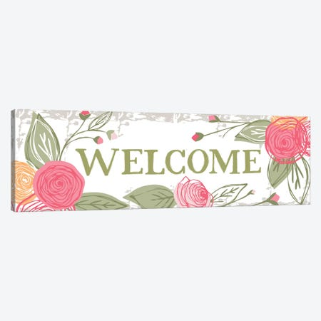 Welcome (Roses) Canvas Print #VYO83} by Vicky Yorke Art Print