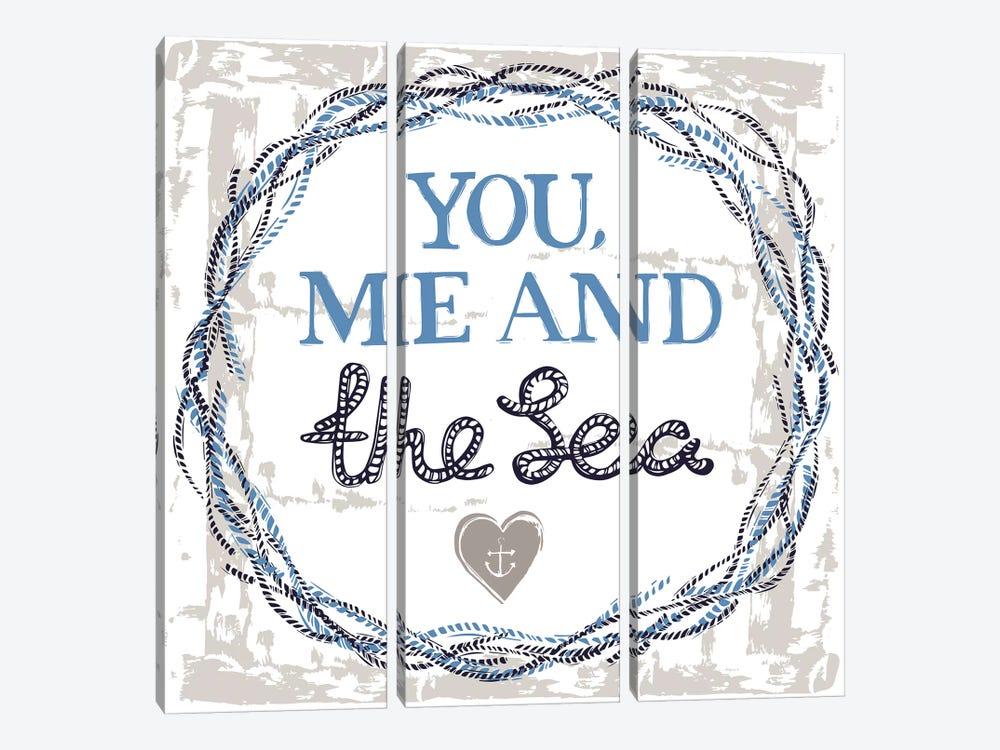 You, Me, And The Sea by Vicky Yorke 3-piece Canvas Wall Art
