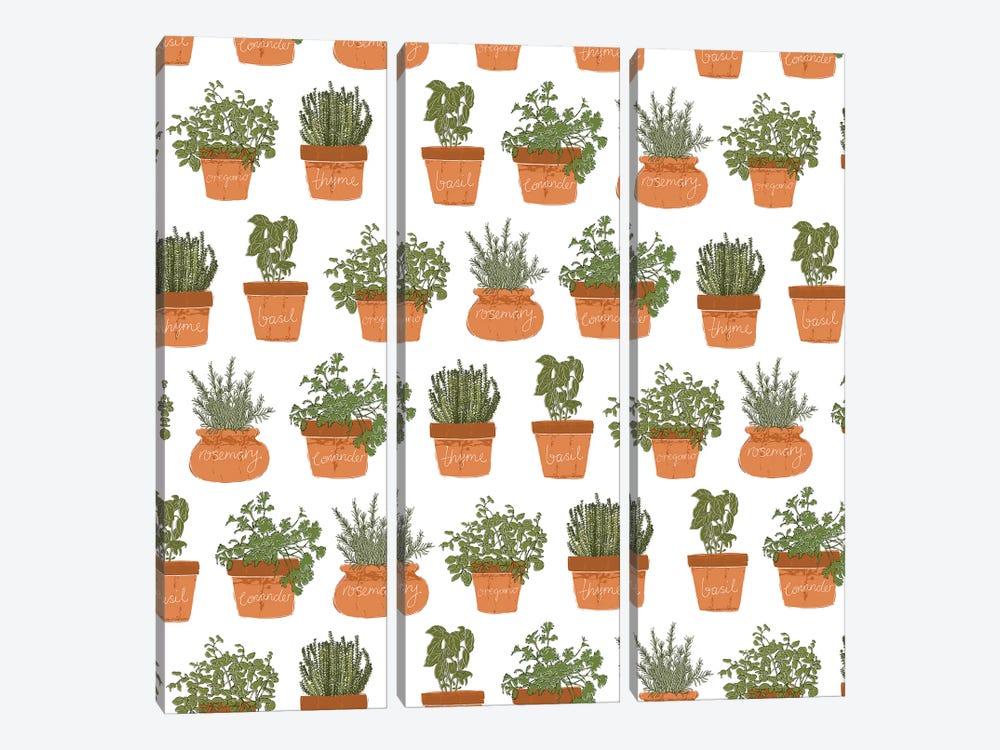 Potted Herbs Pattern by Vicky Yorke 3-piece Art Print