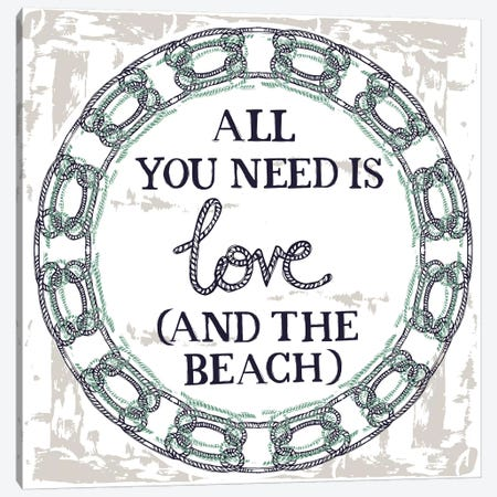All You Need Is Love (And The Beach) Canvas Print #VYO9} by Vicky Yorke Canvas Art
