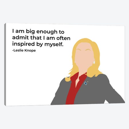 Inspired By Myself - Parks And Rec Canvas Print #VYW14} by Very Nice Words Art Print