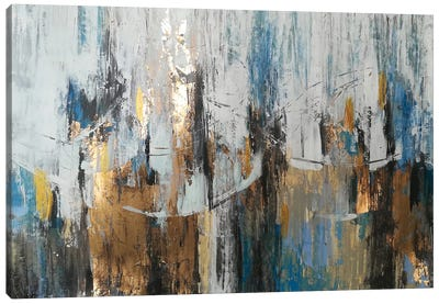 Blue Gold Abstraction Canvas Art Print