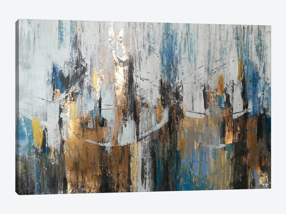 Blue Gold Abstraction by Vera Zhukova 1-piece Canvas Art