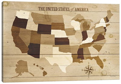 USA Modern Vintage Wood  Canvas Art Print
