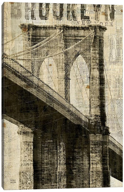 Vintage NY Brooklyn Bridge Canvas Art Print