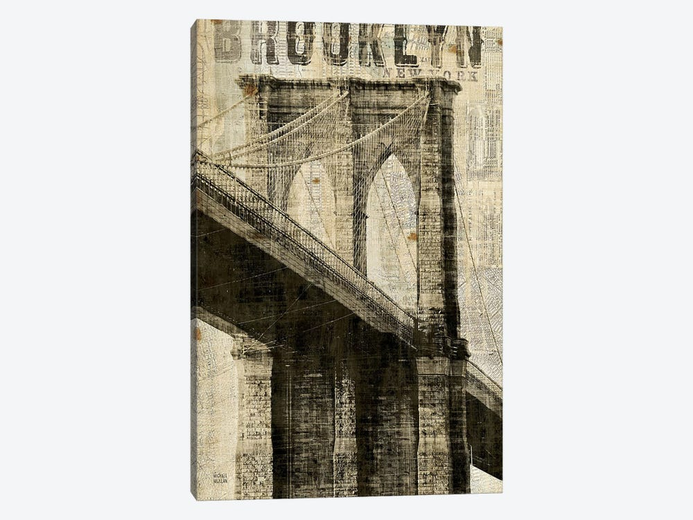 Vintage NY Brooklyn Bridge by Michael Mullan 1-piece Art Print