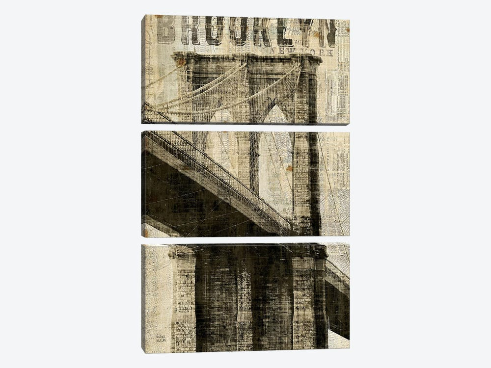Vintage NY Brooklyn Bridge by Michael Mullan 3-piece Canvas Print