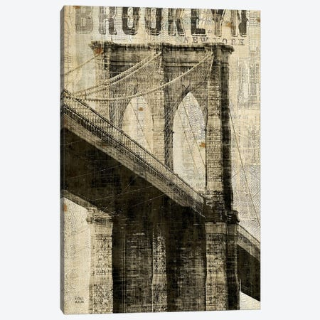 Vintage NY Brooklyn Bridge Canvas Print #WAC1001} by Michael Mullan Canvas Art Print