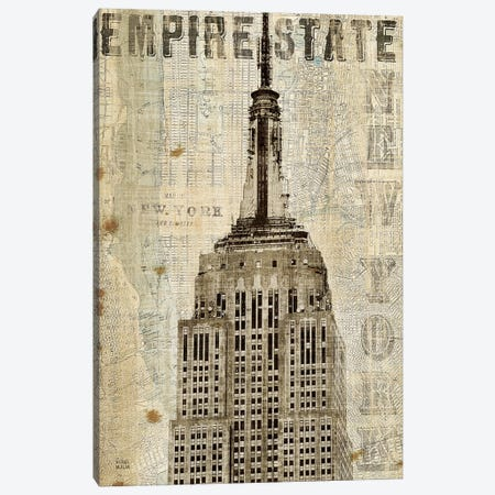 Vintage NY Empire State Building  Canvas Print #WAC1002} by Michael Mullan Art Print