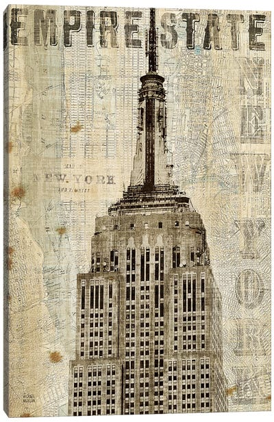 Vintage NY Empire State Building Canvas Art Print