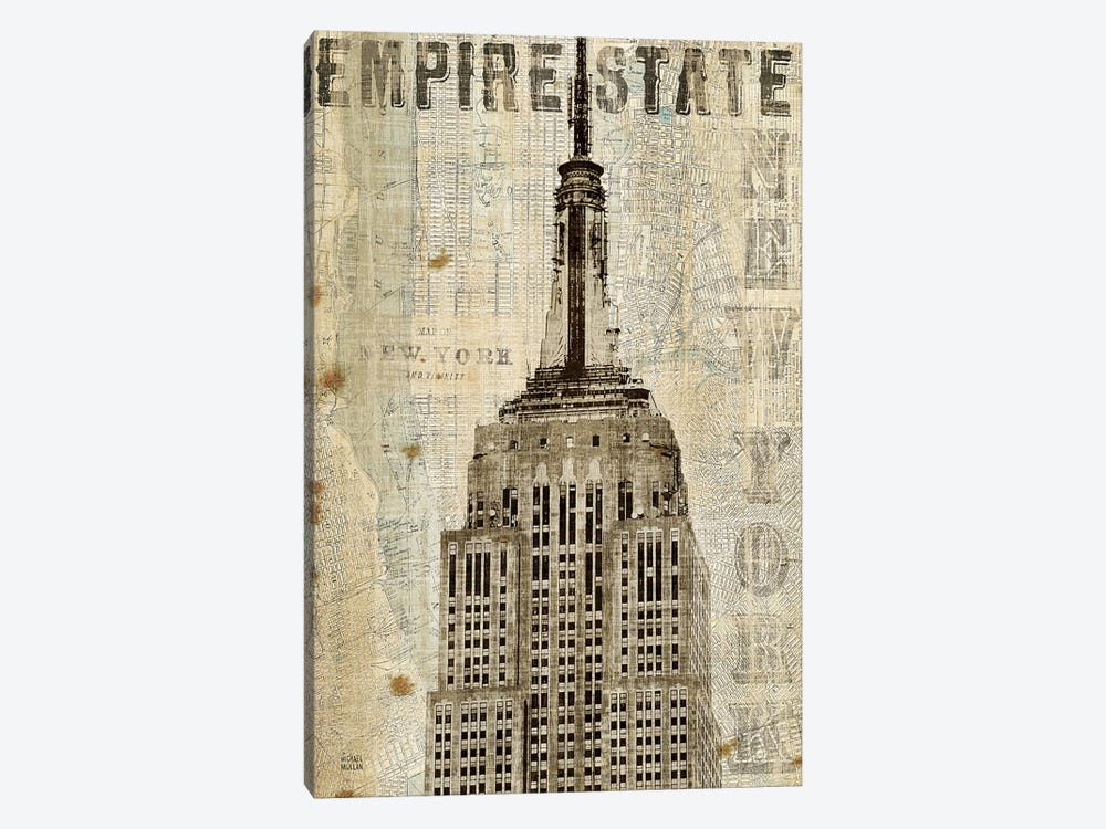 Vintage NY Empire State Building by Michael Mullan 1-piece Canvas Artwork