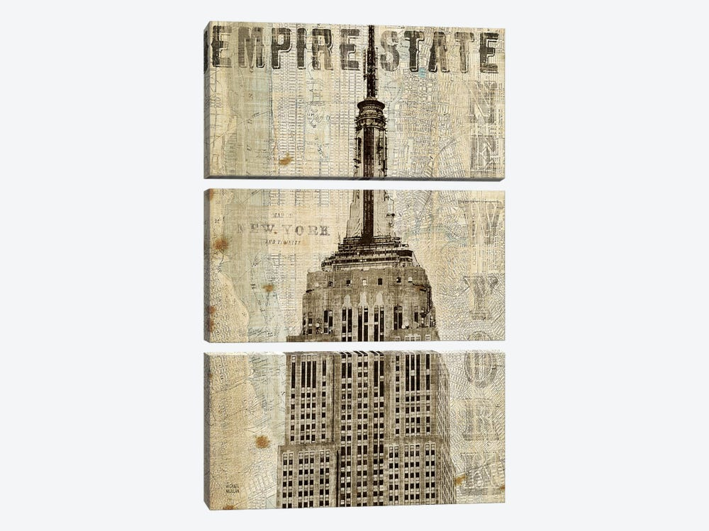 Vintage NY Empire State Building by Michael Mullan 3-piece Canvas Wall Art