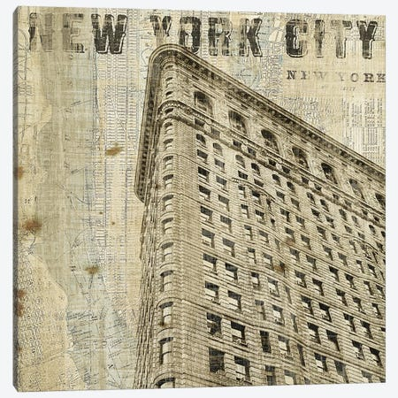 Vintage NY Flat Iron  Canvas Print #WAC1003} by Michael Mullan Art Print