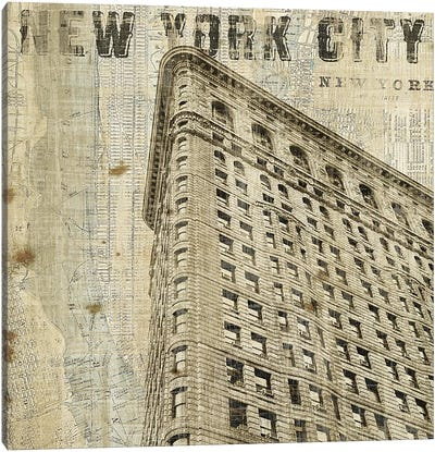 Vintage NY Flat Iron Canvas Art Print