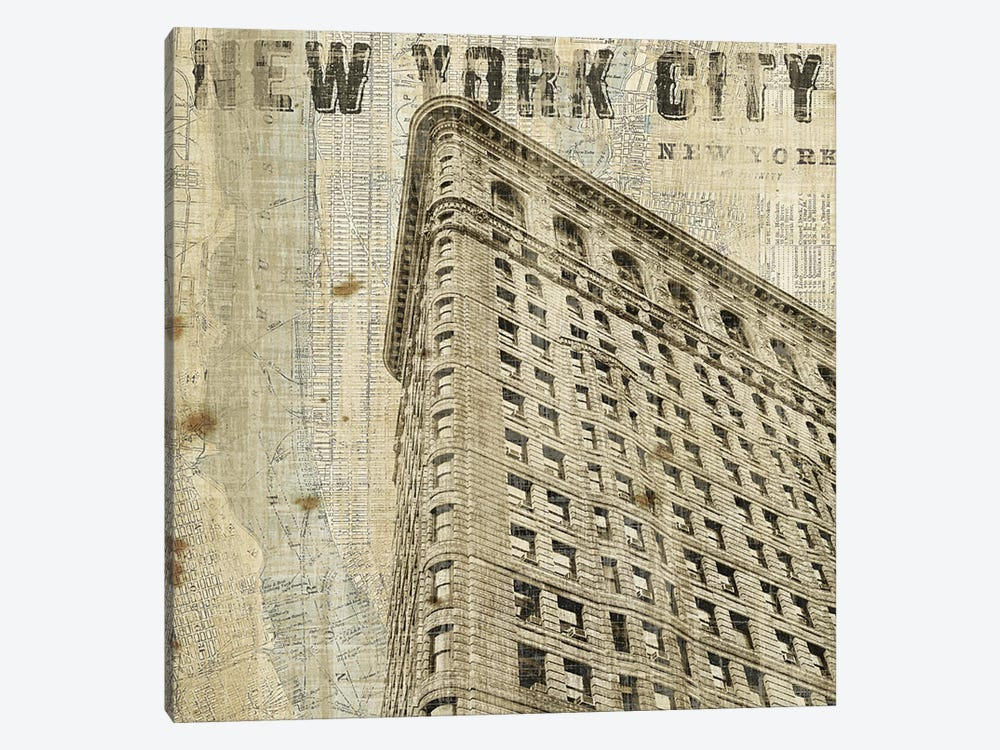 Vintage NY Flat Iron  by Michael Mullan 1-piece Canvas Art Print