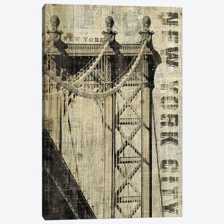 Vintage NY Manhattan Bridge  Canvas Print #WAC1004} by Michael Mullan Canvas Wall Art