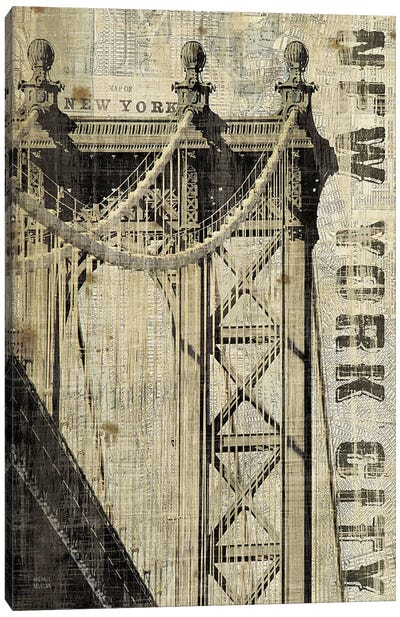 Vintage NY Manhattan Bridge  Canvas Art Print