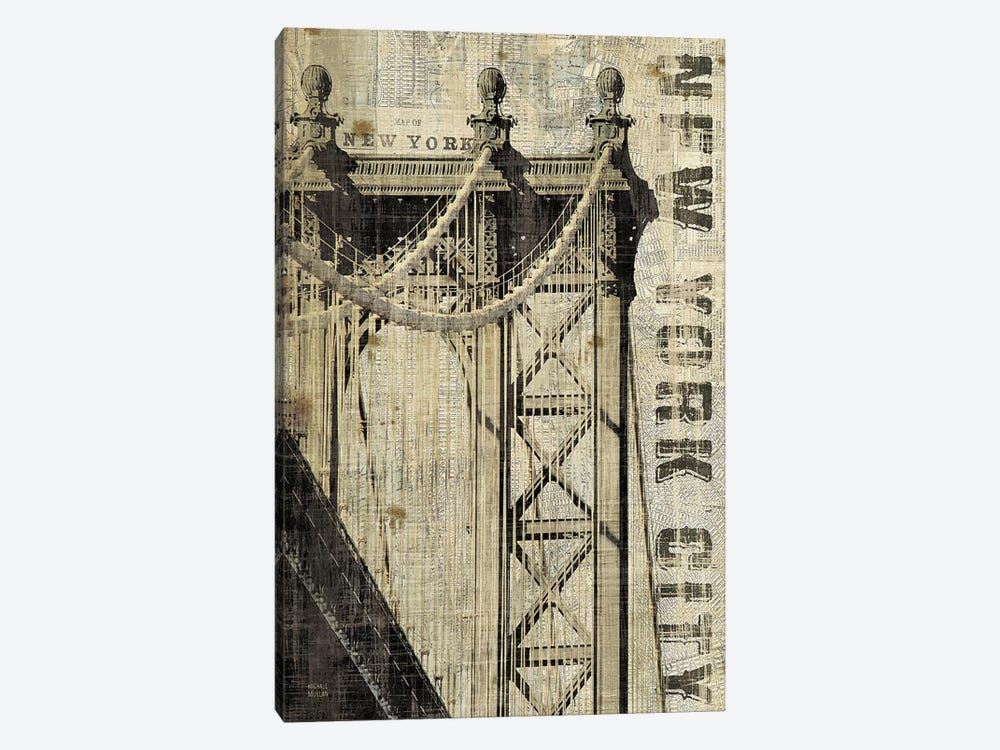Vintage NY Manhattan Bridge by Michael Mullan 1-piece Canvas Wall Art