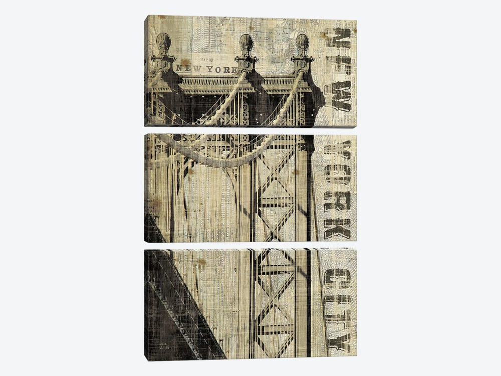 Vintage NY Manhattan Bridge by Michael Mullan 3-piece Canvas Art
