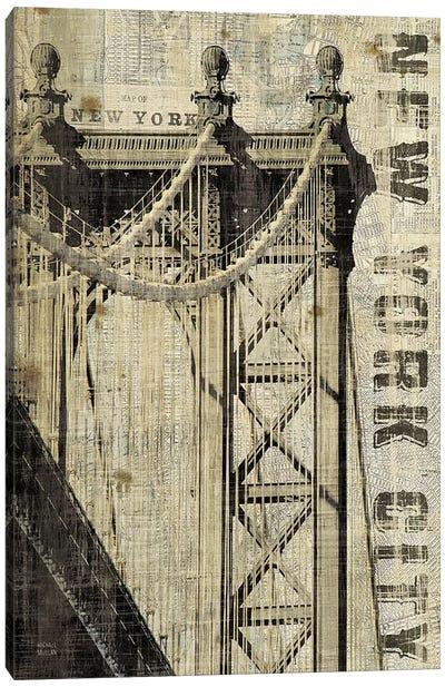 Vintage NY Manhattan Bridge  Canvas Art Print
